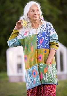Bloom cardigan in eco-cotton/wool – Cardigans – Gudrun Sjödén