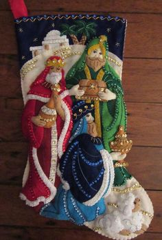 Bucilla Three Kings Completed by MissingSockStitchery on Etsy Christmas Nativity, Felt Christmas, Christmas Crafts, Christmas Decorations, Christmas Ornaments, Holiday Decor, Felt Stocking Kit, Xmax, Xmas Stockings