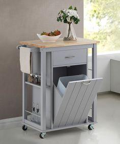 Light Gray Kitchen Cart By Baxton Studio #