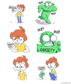Owlturd Comix, anxiety, breath in, out, breathe Shen Comics, Owlturd Comix, Image Hilarante, Funny Cute, Hilarious, The Awkward Yeti, 4 Panel Life, Life Comics, Funny Comic Strips