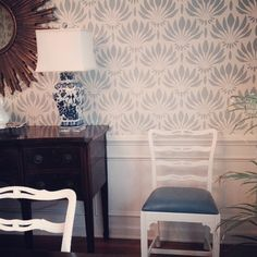 #clientprojects #dining room chairs refreshed with white paint and kid friendly with faux ostrich seats. #thegreenroominteriors #interiordesign #blueandwhiteforever