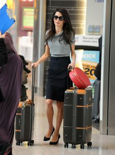 Amal Clooney: The Hatbox - Ladylike and polished, a leather hatbox fits the bill as the chicest carry-on.
