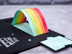 Paper Cards, Diy Paper, Diy Cards, Rainbow Card, Rainbow Paper, Interactive Cards, Invitation, Candy Gifts, Pop Up Cards