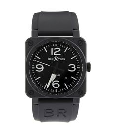 Bell & Ross - BR Black Matte black ceramic watch, with a leather strap. Self-winding mechanism. Waterproof up to 30 meters. Sport Chic, Rolex Watches, Watches For Men, Sport Running, Chanel J12, Tag Heuer Carrera Calibre, Bell Ross, Bracelets, Bling