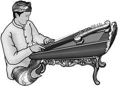 [ celempung  ] stringed instrument. grayscale image