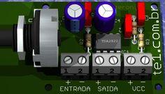 Circuito de amplificador de áudio em ponte (bridge) usando o ci tda2822 com controle de volume - 2 watts Printed Circuit Board, Audio Amplifier, Bridge, Circuits, Entryway, Loft, Bro