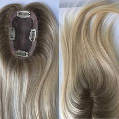 Blonde Ombre Remy Human Hair Toppers Hairpiece Toupee Top Piece With Clips Blonde Ombre Hair, Brown Ombre Hair, Ombre Hair Color, Blonde Wig, Gray Hair, Balayage Hair, Pink Hair, 100 Human Hair, Human Hair Wigs