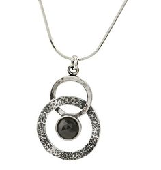 "Shablool Didae Sterling Silver Necklace Pendant 20"" Chain Black Onyx Hammered Frame"