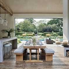 Open Plan Kitchen Dining Living, Open Plan Living, Dining Room, Dining Area, The White Company, Elle Decor, Custom Home Builders, Custom Homes, Pool House Interiors