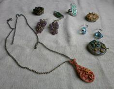 orecchini spille anelli in argento, ametista, topazio azzurro, smalto, ceramica