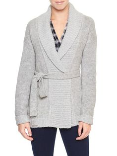 Factory belted open-front shawl cardigan
