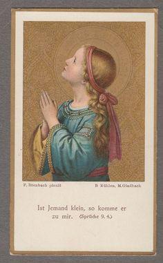 PRAYER Antique goldprint holy card Gladbach Cologne 1907 edited