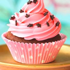 Chocolate pink cupcake.
