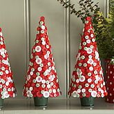 Red and White button christmas tree, foam tree and pretty pins