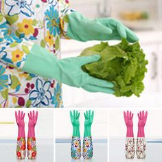 Waterproof Washing Up Rubber Long Sleeve Gloves Kitchen Dishes Cleaning Products