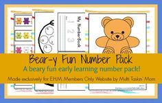 Bear-y Fun Number Pack: a beary fun early learning number pack! - Enchanted Homeschooling Mom