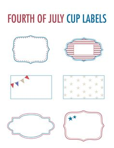 4th of July printable cup labels