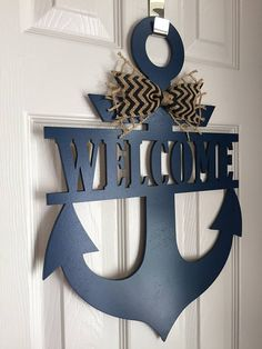 Anchor Door Hanger Welcome Sign Anchor Welcome Wreath Craft Sale, Beach Bathroom Decor, Home Room Design, Nautical Furniture, Clay Roof Tiles, Navy Decor, Nautical Decor, Beach House Wall Decor, Nautical Beach Decor