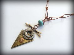 Triangle Talisman  Mixed metals, cold connected with handmade copper chain