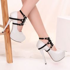 Fashion Round Closed Toe Rivet Embellished  Stiletto High Heels Sliver PU Mary Jane Pumps