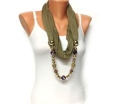 khaki jewelry scarf  crystal beads