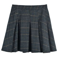 Choies Blue-gray Plaid Mini Skater Skirt (525 MXN) ❤ liked on Polyvore featuring skirts, mini skirts, bottoms, blue, circle skirt, flared skirt, blue mini skirt, tartan skirt and mini skirt