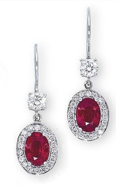 Burma Ruby, Diamond and Platinum Earrings