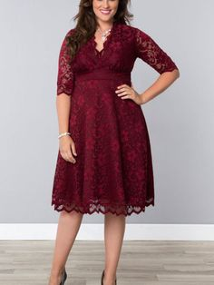 Mademoiselle Lace Dress by Kiyonna in Wine