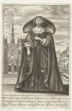 Isaac Briot | Franse dame in rouwkleding, ca. 1630, Isaac Briot, Jean de Saint-Igny, Etienne Dauvel, 1630 - 1640 | Franse dame, van voren gezien, gekleed in een rouwmantel met zeer brede kap of capuchon. Onder de mantel een japon met decolleté met platliggende kraag en een breed uitstaande rugkraag. Aan de mouwen dubbele, geplooide, breed uitstaande manchetten. Ze draagt handschoenen en als sieraden een halsketting en oorbellen. Het kapsel is kort. Op de achtergrond. een kerkplein met links…