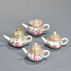 Four Miniature Rose Medallion Porcelain Teapots