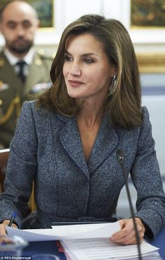 Letizia, who is well known for her sharp sartorial choices, looked the part for the meeting