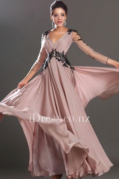 black lace v neck blush chiffon long sleeve evening dress. ball dresses nz. ball gowns nz. #balldresses