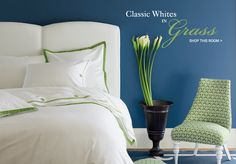 I love how the green accent and the paint color contrast so well with the crisp white.