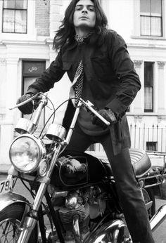 Mickey Finn on his motorcycle.