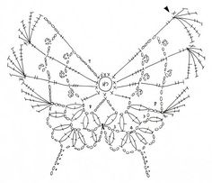 Crochet diagram for a butterfly. (page not in English) Crochet Angels, Crochet Birds, Crochet Motifs, Freeform Crochet, Crochet Diagram, Crochet Chart, Irish Crochet, Crochet Flowers, Knit Crochet