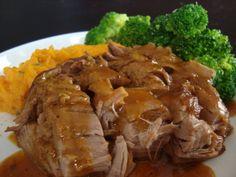 Crock pot maple pork loin. So far so good. Serving mine with baked potato and green beans.