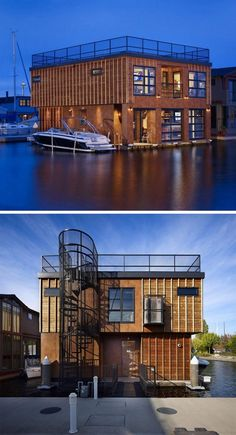 11 Awesome Examples Of Modern House Boats // This two-storey houseboat has a roof deck that's accessible from a ground floor spiral staircase. Floating Architecture, Roof Architecture, Maison Sur Leau, Houseboat Living, Water House, Floating House, Roof Deck, Hip Roof, Boat Plans
