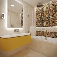 Kids' en-suite bathroom with whimsical wall tiles Wall Tiles, New Homes, Bathtub, Whimsical, Bathrooms, Design, Home Decor, Kids, Bath