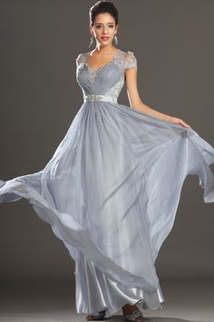 Silver+V+Neck+Floor+Length+Chiffon+Princess+Military+Ball+Dress+With+Beading+Oet0125