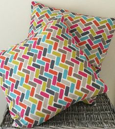 Multicoloured brickwork pattern handmade cushion in various sizes - bright pink / orange / bright blue / taupe / mustard yellow / grey