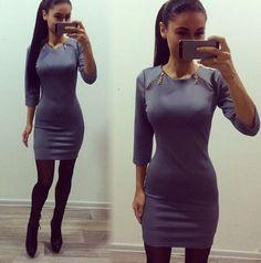 Scoop 3/4 Sleeves Bodycon Slim Zipper Short Dress