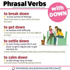 Learn 16 phrasal verbs with down and improve your English speaking skills. Learn English with Harry in a good and easy way. Improve English Writing, English Speaking Skills, English Language Learning, English Study, English Lessons, Learn English, English Grammar Book Pdf, English Vocabulary Words, Grammar And Vocabulary