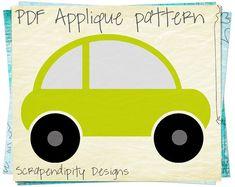 Car Applique Pattern - Transportation Applique Template / Boys Car Quilt Pattern / Toddler Fabric Applique / Nursery Wall Hanging by ScrapendipityDesigns, $2.50