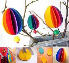 Tuto simple et rapide pour réaliser un bel arbre à œufs colorés pour décorer le centre de votre table pour les fêtes de...
