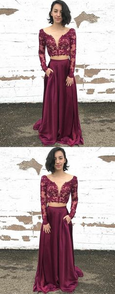 Two Piece Bateau Long Sleeves Maroon Prom Dress with Appliques Pockets, modest two piece maroon long prom dresses with sleeves, elegant long sleeves evening dress P1835
