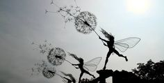 These whimsical wire sculptures were inspired by real life fairies