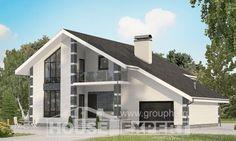 180-001-П Проект двухэтажного дома с мансардным этажом, гараж, современный загородный дом из газобетона,