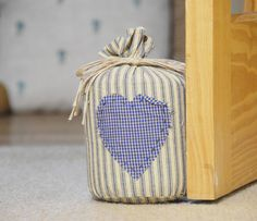 stripy blue country doorstop