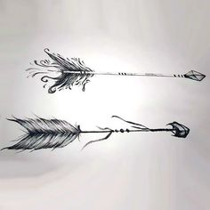 A creative arrow tattoo design. Two beautiful arrows with a lot of stripes.