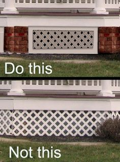 Porch skirting ideas and lattice under porch design. The porch skirt and porch lattice for historic Victorian homes. House Skirting, Deck Skirting, Porch Lattice, Front Porch Railings, Victorian Porch, Under Decks, Porch Flooring, H & M Home, Decks And Porches